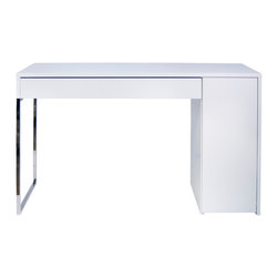 Temahome - Prado Home Office Desk - The Prado desk is a functional solution for a stylish home office. Its minimal design of straight lines and vivid angles includes a drawer and a side cabinet to store the essentials of a working area