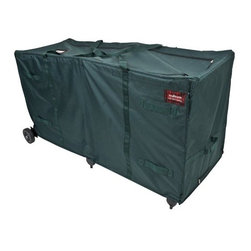 "Tree Keeper - GreensKeeper Large Christmas Tree Storage Bag - The GreensKeeper is a heavy-duty and lightweight extra large Christmas tree and greenery storage bag. The GreensKeeeper features large sturdy rollers and plenty of space to accommodate one 10-15ft tree, multiple smaller trees, or one 60"" take-apart wreath + garlands. Easily roll it away to storage, and even stand on end! Comes with a built in top hook to secure the bag while standing against a wall."