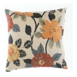 "Canaan - 24"" x 24"" Lindita Floral Pattern Print Fabric Throw Pillow - 24"" x 24"" Lindita floral pattern print fabric throw pillow with a feather/down insert and zippered removable cover. These pillows feature a zippered removable 24"" x 24"" cover with a feather/down insert. Measures 24"" x 24"". These are custom made in the U.S.A and take 4-6 weeks lead time for production."