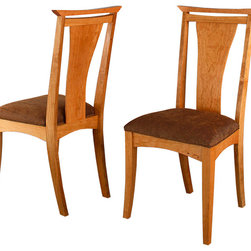 Waterfall Dining Chairs - Our Waterfall dining chairs have a sleek modern look, infused with comfort. They are completely unique to Hardwood Artisans. These chairs have tapered curved legs, an elegant waterfall edge treatment,