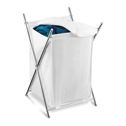 Chrome Folding Hamper W/Cover - Honey-Can-Do HMP-01126 Chrome Folding Hamper, white. A stylish laundry solution, this chrome folding hamper has an integrated fold-over cover that keeps contents concealed and any laundry area neat and clean. The cover itself is removable and washable while the brilliant chrome plated steel frame is both sturdy and rust-resistant. When not in use, this hamper folds to flat so it can be quickly and easily moved or stowed away.