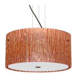 Besa Lighting - Besa Lighting 1KV-4008CS-LED Tamburo 3 Light LED Cable-Hung Pendant - Tamburo is a classic open-ended cylinder of handcrafted glass, a shape that will stand the test of time. Our Stone Copper Foil glass is a clear blown glass with an outer texture of coarse sandstone, with distressed metal foil hand applied to the inside. Inspired by the elements of nature, the appearance of the surface resembles the beautiful cut patterning of a rock formation. This blown glass is handcrafted by a skilled artisan, utilizing century-old techniques passed down from generation to generation. Each piece of this decor has its own artistic nature that can be individually appreciated. The cable pendant fixture is equipped with three (3) 10' silver aircraft cables and 10' AWM cordset, and a low profile flat monopoint canopy.Features: