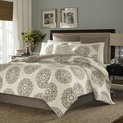 Stone Cottage - Stone Cottage Medallion Cotton Sateen Duvet Cover Set and European Sham Set Sepe - A warm chocolate brown floral medallion pattern adds chic,classic style to this duvet cover and sham set by Stone Cottage. Displayed on a soft ivory ground,this patterned bedding is crafted of soft,machine washable cotton for comfort.