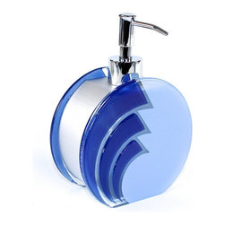 Gedy - Unique Blue Glass Countertop Soap Dispenser - Decorative, modern designed bathroom counter hand soap dispenser.