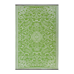 Fab Habitat - Indoor/Outdoor Murano Rug, Lime Green & Cream, 6x9 - Drink it in. The soft colors and classic styling of this rug look so traditional you almost won't believe how it's made. Woven from recycled plastic straws, it's ecofriendly, stain and mildew resistant, reversible, easy to clean and works equally well inside or out.