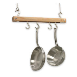 J.K. Adams - Bar Pot Rack, 20 x 12 - Keep essential cookware within easy reach and you may never do takeout again. This ingenious rack, designed for smaller kitchens, has cast metal pothooks resting between wooden rails, letting you show pans face out or sideways.