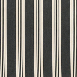 "Ballard Designs - French Stripe Black EasyCare Fabric by the Yard - Content: 100% Solution-dyed Acrylic. Repeat: Non-railroaded fabric, 7.09"" Repeat. Care: Spot clean with mild soap. Width: 63"" wide. Black and cream French stripe woven in washable, EasyCare acrylic. . . . . Because fabrics are available in whole-yard increments only, please round your yardage up to the next whole number if your project calls for fractions of a yard. To order fabric for Ballard Customer's-Own-Material (COM) items, please refer to the order instructions provided for each product.Ballard offers free fabric swatches: $5.95 Shipping and Processing, ten swatch maximum. Sorry, cut fabric is non-returnable."