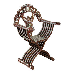 Arabian Mosaic Mother of Pearl Accent Occasional Folding Chair - Solid Walnut Woodframe