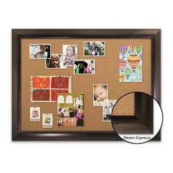 "Corkboard - 44"" x 32"" Framed Cork Board, Weston Expresso - Dimensions include frame."