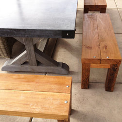 "4 Exotic Benches - 4 Exotic benches built with reclaimed old oak wood in South Africa. Available as one set (4 benches) or broken up into 2 benches per order. Heavy, sturdy and very durable.  Finished in a soft lacquer for protection - can be varnished by request. Each bench measures L42"" x W14.5"" x H17"""