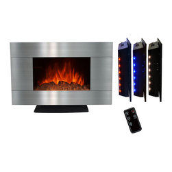 GOLDEN VANTAGE - GV 36-inch Electric Fireplace Wall Mount Or Floorstand W/Log And Led Backlight - Our electric powered fireplaces give off a simulated flame ambience without the danger associated with real fire, or the inconvenience of soot or smoke.These products come in many different designs to complement your existing style.You can also choose heat or ambient modes depending on your mood, 3D realistic design and 3 color led backlights.