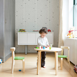 Svan - Play with me table + chair set - Sometimes kids just need kid-sized stuff.  Kid-sized food, kid-sized clothes, and even kid-sized furniture.  Our Play-With-Me Toddler Table & Chairs is the perfect size for your child, and designed to promote child and parent interaction.  The set includes a beautiful bentwood table, three chairs for children, and a stool sturdy enough for Mom or Dad to join the fun.