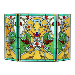 Chloe Lighting - Myrtle 3Pcs Folding Fireplace Screen - Glass, metal & bronze. Overall: 43.9 in. L x 43.9 in. W x 28 in. H (18.74 lbs.)MYRTLE, a Victorian vintage fire screen comes to life with beautiful arrangements of stained glass giving a colorfully array of warmth.  Hand crafted using top quality glass piece adorned with a metal frame coated in a vintage patina.  Wonderful addition to any fireplace.