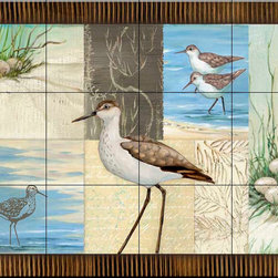 The Tile Mural Store (USA) - Tile Mural - Patchwork Sandpipers - Kitchen Backsplash Ideas - This beautiful artwork by Paul Brent has been digitally reproduced for tiles and depicts a patchwork of sandpipers.  Images of waterfowl on tiles are great to use as a part of your kitchen backsplash tile project or your tub and shower surround bathroom tile project. Pictures of egrets on tile, images of herons on tile and decorative tiles with ducks and geese make a great kitchen backsplash idea and are excellent to use in the bathroom too for your shower tile project. Consider a tile mural of water fowl for any room in your home where you want to add interesting wall tile.