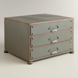 Zinc Austin 3-Drawer File - For those industrial lovers, this is perfect in so many ways! It has three drawers for storage and is compact enough to fit right into a corner spot.