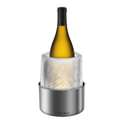 Final Touch - Stainless Steel Ice Bottle Chiller - The Final Touch Ice Bottle Chiller is the perfect addition to your special events. Perfect for chilling bottles and great as a romantic candle holder. Simple to use, just add water and create a conversation piece, or if you feel creative, add your decoration of choice for a stunning one of a kind centerpiece. It can be dressed up by adding fruits, ornaments, flowers, food coloring, or anything else; the possibilities are endless. The Ice Bottle Chiller will last 6 hours as a bottle chiller or about 4 hours as a candle holder.