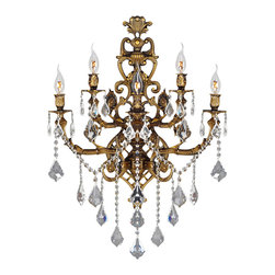 Worldwide Lighting - Worldwide Lighting W23318B19 Versailles 5-Light Antique Bronze Finish Wall Sconc - Worldwide Lighting W23318B19 Versailles 5-Light Antique Bronze Finish with Clear Crystal Wall Sconce