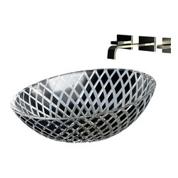 "Maestrobath - Atelier Xeni Black Transparent Modern Sink - Sloped towards the front, the XENI design begs for your presence and admiration. This crystal vessel sink is cut glass on the outside and smooth on the inside. The coloring and the texture formation is the result of the ""Florence Glass Atelier"" project which is inspired by embedding the philosophy of the fashion world into product design. XENI design is a mesh of carved diamonds with two color options of black and white with beautiful transparent spaces. The beauty of this product is not only in its spectacular design execution, but also in the attention to its surroundings. The semi transparency of this product mixed with its light or dark color allows it to match perfectly with its environment while showing off its beauty. This Luxury bathroom sink will look amazing in any modern bathroom or a classic powder room."