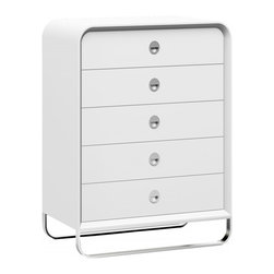 White Line Imports - Liquido Chest in High Gloss White - Featuring 5 roomy drawers with stylish round handles and self close runners, the Liquido modern 5-drawer chest will take its place in any modern bedroom. Smooth rounded corners and stainless steel legs create very elegant and fascinating look for added attraction, complemented with High Gloss White finish.