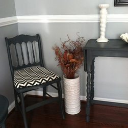 Vintage Finds - Shabby Chic vintage Console Table with fold down sizes. This stunning vintage find would make a great accent piece to a home office flanked in the middle of a space or hallway. This piece has been finished off with Annie Sloan Graphite chalk paint.