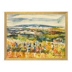J. Pocker - 'Harvest' Print - Capturing the important life-affirming ritual task of harvesting crops, this hand-selected print will add a warm and festive quality to any room. Curated by renowned Interior Designer, Bunny Williams, your fondness for this landscape will increase each time you set eyes upon it.