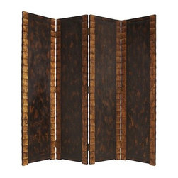 Remington Screen - Remington 4 Panel Screen with a contemporary design on solid wood panel accented by café and gold hues.  Contemporary design finished on both sides.