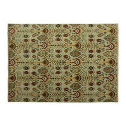 Flat Weave 9'X12' Reversible Soumak 100% Wool Ikat Style Oriental Rug SH6071 - Hand Knotted Ikat & Suzani Rugs are bold and usually the focal point of the room.  The design is large and is all highly in demand by designers.