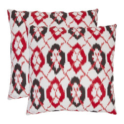 Safavieh - Ikat 22-inch White/ Red Decorative Pillows (Set of 2) - These bold red decorative pillows will add dimension and pizzazz to any decor! Perfect for any room in the house,this fashionable square pillow set features a hand-woven 100 percent cotton cover in a contemporary red and gray ikat pattern.