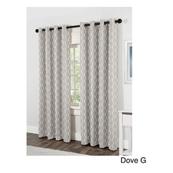 None - Baroque Grommet Top 84 inch Curtain Panel Pair - Block the outdoor light and reduce exterior noise with the Baroque grommet top 84-inch curtain panel pair. Available in four colors,these linen looking jacquard panels offer a luxurious contemporary geometric design that will grace any space.