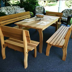 Fifthroom - Cedar Chickadee Dining Set - If you�re looking for your average run-of-the-mill picnic table, look somewhere else! This rich western red cedar picnic table is complete with not two� but four benches. And, they�re not just regular benches, but feature sturdy and comfortable backs to surpass all expectations. Sit down, lean back, and enjoy this picnic table!