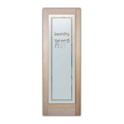 Sans Soucie Art Glass - Clothesline 2 Laundry Room Door - Laundry Room Door with Sandblast Etched Glass - Clothesline 2 Laundry Room Door - Quality, hand-crafted sandblast etched glass.