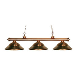 "Z-Lite - Z-Lite 3 Light Billiard - For an antique look, this three light fixture certainly delivers. Finished in antique copper, this fixture is paired with three matching antique copper metal shades. Decorative finials complete the look, and 72""  of chain is supplied on each side of the fixture, that hangs from an oval canopy. This fixture will bring an antique look whether hung in a game room, a kitchen, or anywhere else in the house."