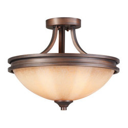 Golden Lighting - Golden Lighting 1051-SF Craftsman / Mission Two Light Semi-Flush Mount Ceiling F - Craftsman / Mission Two Light Semi-Flush Mount Ceiling Fixture from the Hidalgo CollectionFeatures: