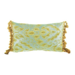 """Canaan - Fantasia Aqua Damask Pattern Print 14"""" x 22"""" Throw Pillow - Fantasia Aqua damask pattern print 14"""" x 22"""" throw pillow with malibu tassel ends. Measures 14"""" x 22"""" made with a blown in foam. These are custom made in the U.S.A and take 4-6 weeks lead time for production."""