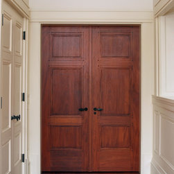 Custom 3 Panel Mahogany Double Doors - Custom 3 panel Mahogany interior double door with craftsman style door casing.
