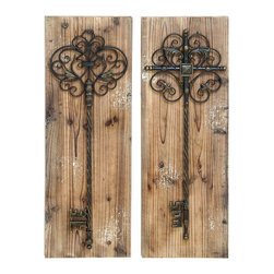 Benzara - Enchanting Key Door Wall Plaque in Aged Wood - An enchanting wall plaque that looks great both inside and outside. An assorted set of 2 plaques mounted with a beautiful cast iron alloy key. The plaque is made with aged beach wood for the ultimate rustic look anywhere you hang it. Ideally hung in the backyard garden or patio, but this is also great at the end of a hallway.