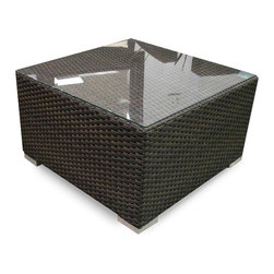 Source Outdoor - St. Tropez Outdoor Coffee Table - Square shape. Glass top. Fully welded frame. Made from resin wicker and powder coated aluminum. Espresso color. No assembly required. 24 in. W x 24 in. D x 14 in. H (22 lbs.). Source outdoor limited warranty: Our limited 3-year residential warranty covers all defects in workmanship and materials of the source outdoor product. The source outdoor warranty does not cover freeze damage within the frames. It is very important not to store the furniture upside down as it will allow water into the frames.Blends the elements of materials, design and craftsmanship into this innovative and contemporary design. Ideally scaled for smaller spaces.