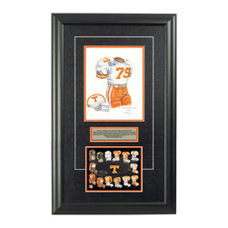 "Heritage Sports Art - Original art of the NCAA 1989 Tennessee Volunteers uniform - This beautifully framed NCAA football piece features an original piece of watercolor artwork glass-framed in an attractive two inch wide black resin frame with a double mat. The outer dimensions of the framed piece are approximately 17"" wide x 28"" high, although the exact size will vary according to the size of the original piece of art. At the core of the framed piece is the actual piece of original artwork as painted by the artist on textured 100% rag, water-marked watercolor paper. In many cases the original artwork has handwritten notes in pencil from the artist. Simply put, this is beautiful, one-of-a-kind artwork. The outer mat is a rich textured black acid-free mat with a decorative inset white v-groove, while the inner mat is a complimentary colored acid-free mat reflecting one of the team's primary colors. The image of this framed piece shows the mat color that we use (Orange). Beneath the artwork is a silver plate with black text describing the original artwork. The text for this piece will read: This is an original, one-of-a-kind watercolor painting of the 1989 Tennessee Volunteers uniform worn by #79 Eric Still and was used in the creation of this Tennessee Volunteers uniform evolution print and thousands of Tennessee products that have been sold across North America. This original piece of art was painted by artist Marguerite Perry for Maple Leaf Productions Ltd. Beneath the silver plate is a 6.5"" x 7"" reproduction of a uniform evolution print that celebrates the history of the team. The print beautifully illustrates the chronological evolution of the team's uniform and shows you how the original art was used in the creation of this print. If you look closely, you will see that the print features the actual artwork being offered for sale. The 6.5"" x 7"" print is shown above. The piece is framed with an extremely high quality framing glass. We have used this glass style for many years with excellent results. We package every piece very carefully in a double layer of bubble wrap and a rigid double-wall cardboard package to avoid breakage at any point during the shipping process, but if damage does occur, we will gladly repair, replace or refund. Please note that all of our products come with a 90 day 100% satisfaction guarantee. Each framed piece also comes with a two page letter signed by Scott Sillcox describing the history behind the art. If there was an extra-special story about your piece of art, that story will be included in the letter. When you receive your framed piece, you should find the letter lightly attached to the front of the framed piece. If you have any questions, at any time, about the actual artwork or about any of the artist's handwritten notes on the artwork, I would love to tell you about them. After placing your order, please click the ""Contact Seller"" button to message me and I will tell you everything I can about your original piece of art. The artists and I spent well over ten years of our lives creating these pieces of original artwork, and in many cases there are stories I can tell you about your actual piece of artwork that might add an extra element of interest in your one-of-a-kind purchase."