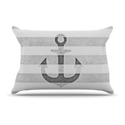 "Kess InHouse - Monika Strigel ""Stone Vintage Anchor Gray"" White Grey Pillow Case, King (36"" x 2 - This pillowcase, is just as bunny soft as the Kess InHouse duvet. It's made of microfiber velvety fleece. This machine washable fleece pillow case is the perfect accent to any duvet. Be your Bed's Curator."