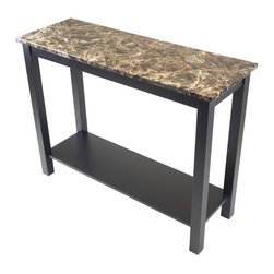 Winsome Wood - Console Hall Table in Black Finish - Stylish top. Chic and durable. Sophisticated look. Made from faux marble and wood. Assembly required. 39.37 in. W x 13.78 in. D x 29.53 in. H