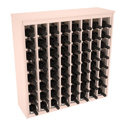 Wine Racks America - 64 Bottle Deluxe Wine Rack in Ponderosa Pine, White Wash Stain + Satin Finish - Styled to appear as wine rack furniture, this wooden wine rack will match existing decor while storing 64 bottles of wine. Designed to look like a freestanding wine cabinet, the solid top and sides promote the cool and dark storage area necessary for aging wine properly. Your satisfaction and our racks are guaranteed.