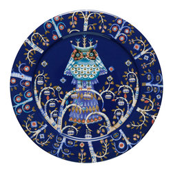 "iittala Taika Plate Flat 10.6"" Blue - Iittala Taika is part of the whimsical Taika series, illustrated by Klaus Haapaniemi for Iittala in 2007. Available in white, blue and black the design draws upon folklore for a fanciful design that is visually stunning. Taika means 'magic' in Finnish and the classic forms designed by Heikki Orvola combine well with other Iittala collections, brings a playful magic to your table."