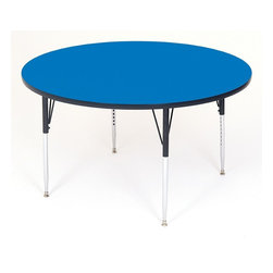 Correll Inc - Round High Pressure Activity Table in Blue (3 - Finish: 36 in./Short/BlueDesigned for heaviest school and church use. 1.25 in. thick high density particle board top. Real high pressure top laminate. Resists scratches, paint, markers, crayons, and food and juice stains far better than melamine. Backer sheet to resist warping. Leg mounting brackets pre-attached with 7 screws. Three additional screws in leg plate. Oversize hairpin brace make this the strongest leg mounting system in the industry. Shoulder on leg set screw provides an extra margin of safety. Free speed wrench with every table, for fast, easy, height adjustments. Standard legs adjust from 21 in. to 30 in. in 1 in. increments. Short legs adjust from 16 in. to 25 in. in 1 in. increments. Pictured in Blue. 36 in.. 42 in.. 48 in.. 60 in.