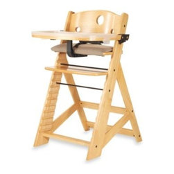 Keekaroo - Keekaroo Height Right High Chair with Tray in Natural - This handsome wooden high chair by Keekaroo is comfortable, stylish and provides your child with the perfect seat at any table. It has a soft cloth cushion for comfort and durable construction for safety.