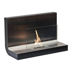 "Ignis Fireplaces - Ignis Ferrum, Wall Mounted Ethanol Fireplace - Cozy up to the warm feel of this Ferrum Wall Mounted Ventless Ethanol Fireplace. This sleek modern fireplace features a solid stainless steel top plate and an attractive glass shield for a look that is contemporary and chic. This ventless fireplace mounts on the wall and feature an approximate BTU output of 6 000 BTUs. Its design makes it possible to enjoy the open flame and atmosphere of a traditional fireplace without the the need for wiring or vents. Light the flame and enjoy up to five hours of heat per burner refill. Although this wall mount fireplace unit is compact and takes up very little room on your wall it will add a warm toasty ambiance to most average-sized rooms. Dimensions: 31.5"" x 19.75"" x 14""."