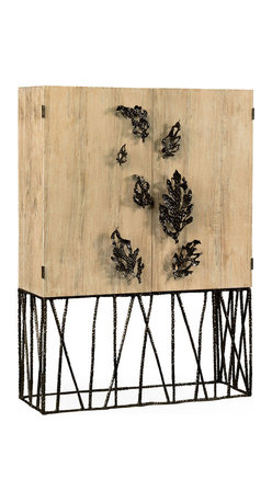 Jonathan Charles - Falling Leaves Drinks Cabinet - Spectacular limed wood and walnut lined drinks cabinet with hammered bronzed openwork base and abstract leaf details to the doors. Inspired by European luxury furniture of the 1940's.