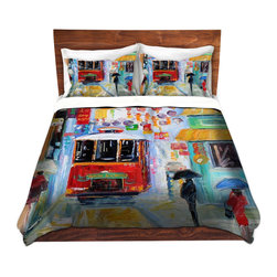 DiaNoche Designs - Duvet Cover Microfiber - China Town - DiaNoche Designs works with artists from around the world to bring unique, artistic products to decorate all aspects of your home.  Super lightweight and extremely soft Premium Microfiber Duvet Cover (only) in sizes Twin, Queen, King.  Shams NOT included.  This duvet is designed to wash upon arrival for maximum softness.   Each duvet starts by looming the fabric and cutting to the size ordered.  The Image is printed and your Duvet Cover is meticulously sewn together with ties in each corner and a hidden zip closure.  All in the USA!!  Poly microfiber top and underside.  Dye Sublimation printing permanently adheres the ink to the material for long life and durability.  Machine Washable cold with light detergent and dry on low.  Product may vary slightly from image.  Shams not included.