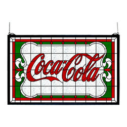"""Meyda Tiffany - Meyda Tiffany Meyda Originals Window Sill Tiffany Window Art in Tiffany Items - Shown in picture: Coca-Cola Nouveau Stained Glass Window; One Of The Most Recognizable And Iconic Symbols Of Our Time """"Coca - Cola"""" A True American Original Has Teamed Up With Another True American Original """"Meyda Tiffany"""" To Offer These Beautiful One Of A Kind Stained Glass Windows."""