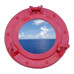 Handcrafted Nautical Decor - Deluxe Class Dark Red Porthole Window 8'' - This Brass Deluxe Class Porthole Window 8'' - Dark Red   adds sophistication, style, and charm for those     looking  to   enhance       rooms with a nautical theme. This boat    porthole   has a   sturdy,  heavy and      authentic appearance, and is    made of  brass  and  glass which can easily be hung to grace any  nautical    theme wall.Our nautical   porthole window     makes  a fabulous style    statement in any room  with    its classic  round      frame, six    metal-like rivets and two  dog  ears.   This marine  porthole mirror        has an 5'diameter and 2'deep when dog-ears are  attached, 1.5'' deep    without dog ears   attached.----Dimensions: 8'Long x 2'Wide x 8'High--NOTE: This is a decorative porthole window (the  center is clear glass which can be left in port hole or taken out).  Mounting hardware not included with purchase.----    Functional porthole window that will open and close by loosening dog ears--    --    Handcrafted from solid brass and hand-painted a red finish by our master artisans--    Decorative yet fully functional port hole window decoration--    Realistic nautical decor - modeled after an antique 19th-century ship's porthole--    --    Great porthole wall decor and an instant conversation piece--