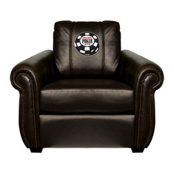 Dreamseat Inc. - World Series of Poker Chesapeake Black Leather Arm Chair - Check out this Awesome Arm Chair. It's the ultimate in traditional styled home leather furniture, and it's one of the coolest things we've ever seen. This is unbelievably comfortable - once you're in it, you won't want to get up. Features a zip-in-zip-out logo panel embroidered with 70,000 stitches. Converts from a solid color to custom-logo furniture in seconds - perfect for a shared or multi-purpose room. Root for several teams? Simply swap the panels out when the seasons change. This is a true statement piece that is perfect for your Man Cave, Game Room, basement or garage.